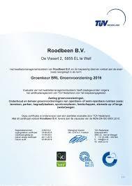 Voorbeeld certificaat Groenkeur Groenvoorziening TUV